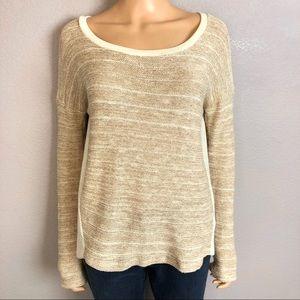 Splendid Striped Sweater Metallic Drop Sleeve